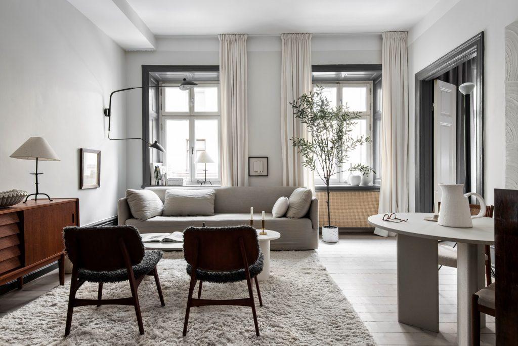 Un apartamento sueco nada tradicional en su interiorismo.